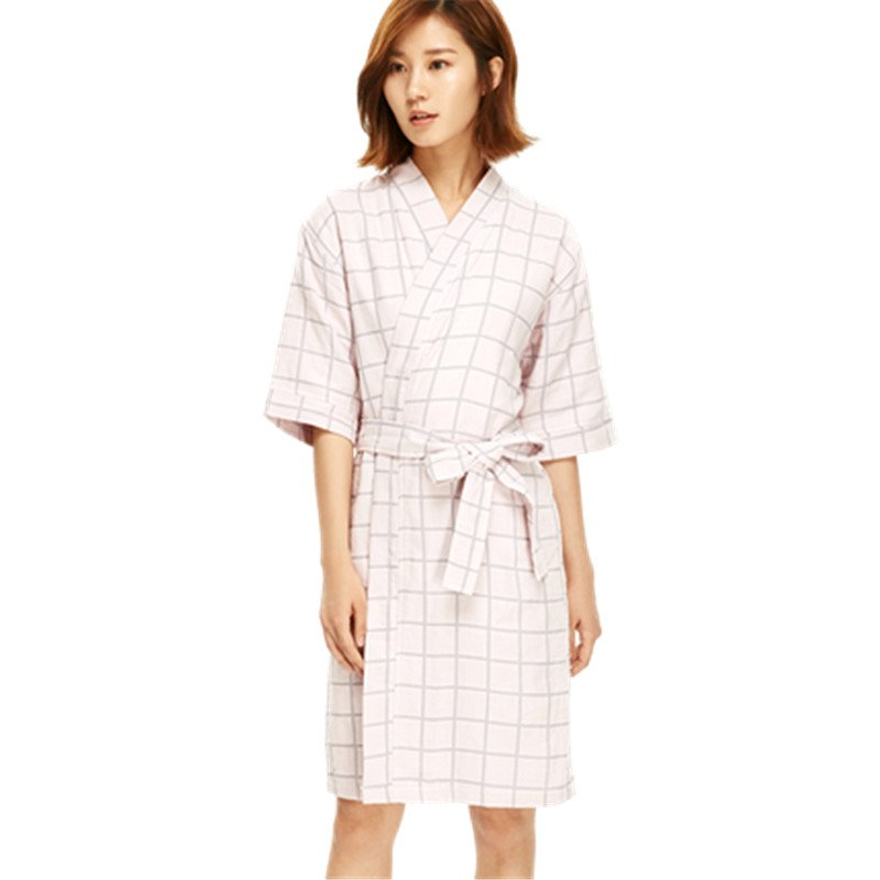 Women One-Size Short Robes Extra Soft Plaid Bathrobe Japanese Style - Booth79