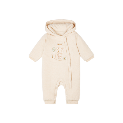 Colored Cotton Air Layer Newborn Hooded Jumpsuit - Booth79