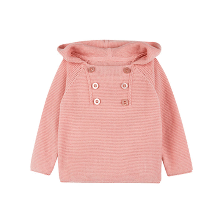 Girls Double Breasted Knit Hooded Sweater - Booth79