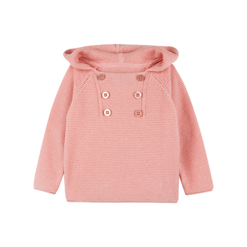 Double-breasted Simple Hooded Little Girl Sweater - Booth79