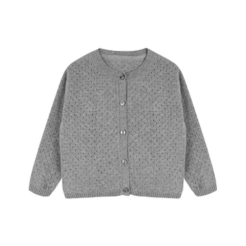 Simple Jacquard Cotton Girls Cardigan - Booth79