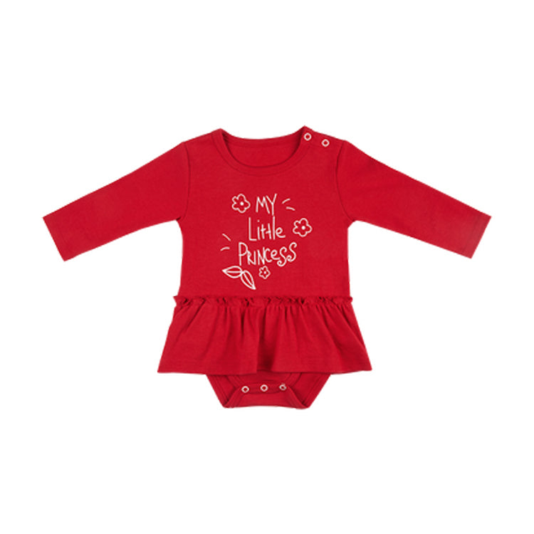 Baby Girl Long Sleeve Dress Onesie – Red - Booth79