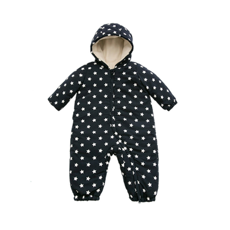 Newborn Baby Star Printed Polar Fleece Hooded Jumpsuit - Booth79