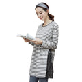 Striped Side Buttoned Long Sleeve Breastfeeding T-shirt - Booth79