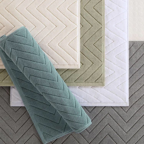 100% Cotton Extra Soft Geometric Ribbed Bath Mat - Booth79