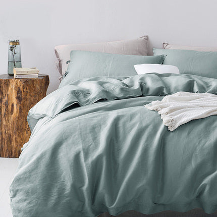 4-Pack Natural Cotton and Linen Breathable Duvet Cover Set - Booth79
