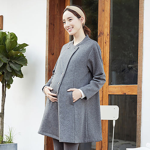 Maternity Heated Velvet Double-breasted Cardigan - Booth79
