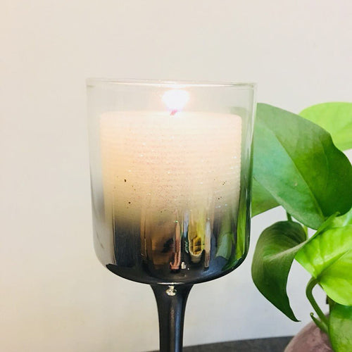 Stainless Steel Plating Glass Candle Holder - Booth79