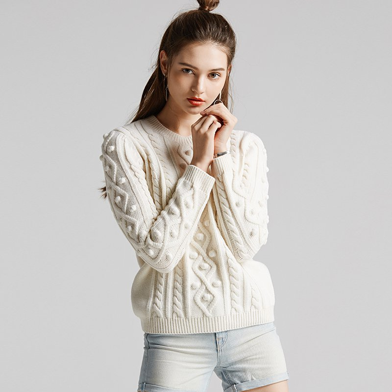 Women's Twisted Flowers Round Collar Couple Woolen Sweater