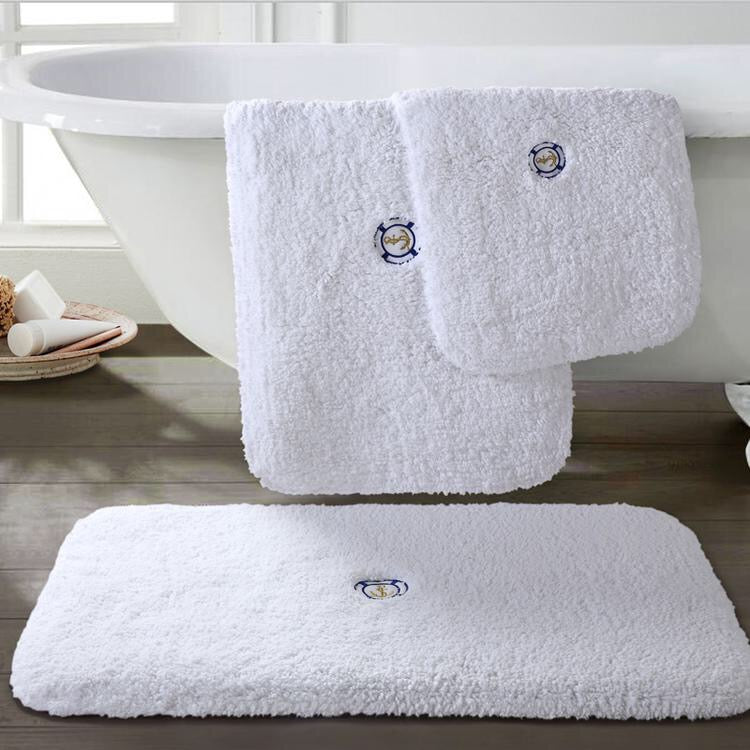100% Cotton Pure White Extra Thick Shaggy Bath Mat - Booth79