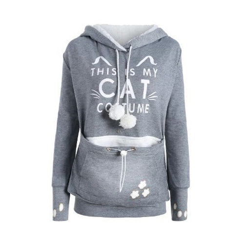 Unisex Cat Ear Hoodie Long Sleeve Pet Holder Carrier Sweatshirt