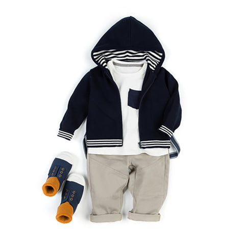 Simple Striped Children's Knit Jacket - Booth79