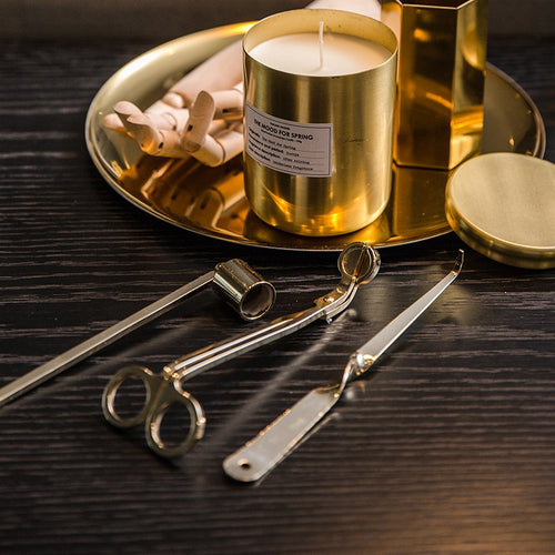 Candle Accessory Set Candles Snuffer 3-Pack Gold - Booth79