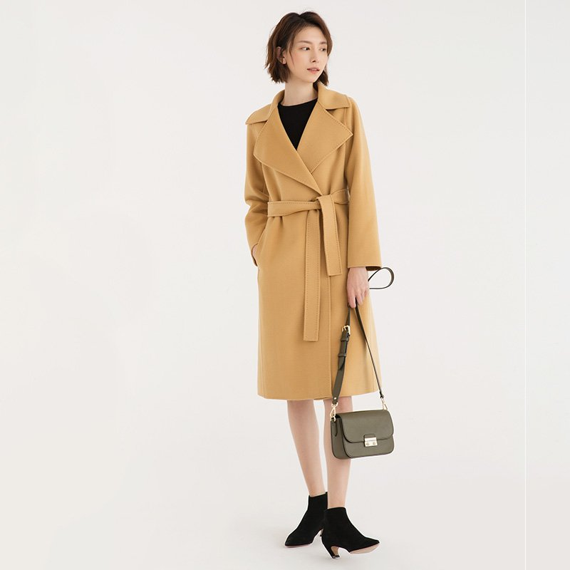 Full-Length Button Warm Wool Coat with Belt - Booth79