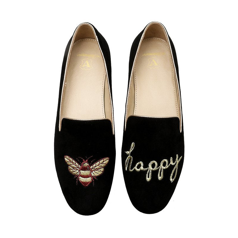 Women's AB Model Embroidery Little Honeybee Loafer Shoes