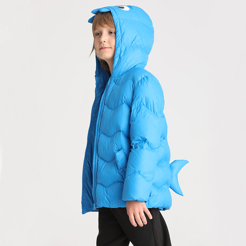 Boys Shark Shaped Blue Down Jacket - Booth79