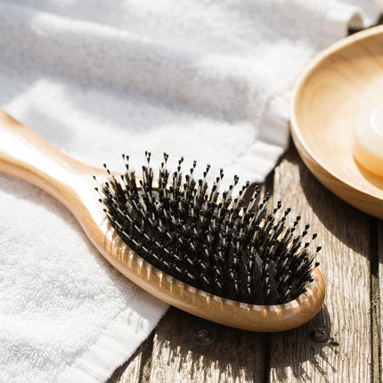 Boar Bristle Hair Brush with Detangle Pins - Booth79