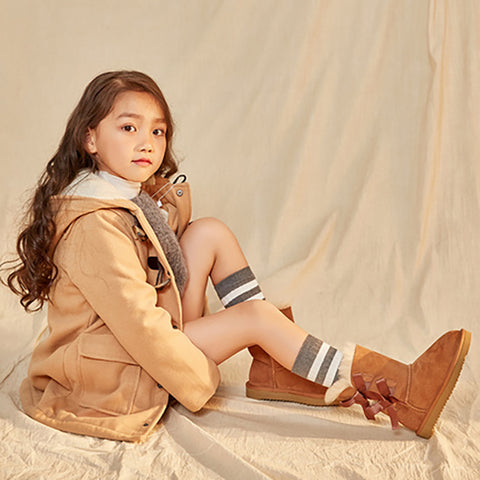 Leather Fur Girl Snowing Boots - Booth79