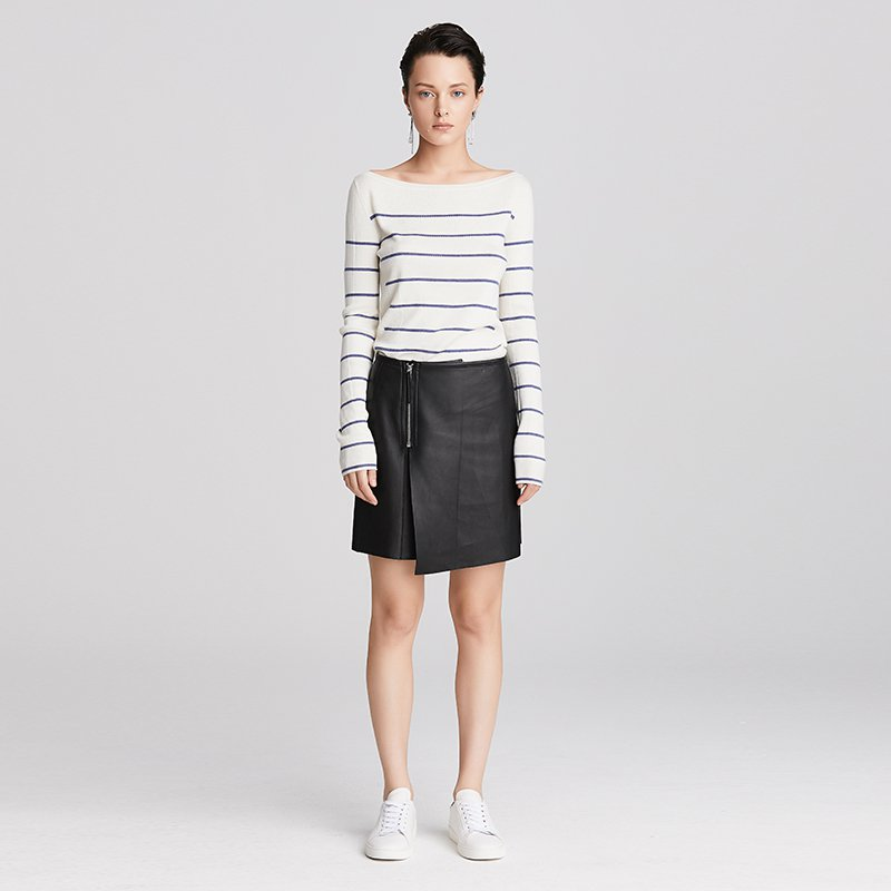 Zipper Asymmetric A-Line Leather Skirt