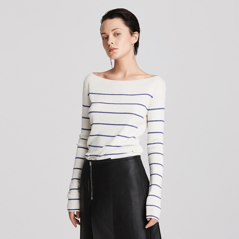 Women's Stripes Boat Neck Woven Woolen Base Shirt