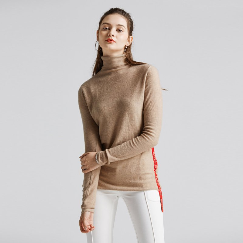 Women's Side Weave Belt High Collar Cashmere Sweater
