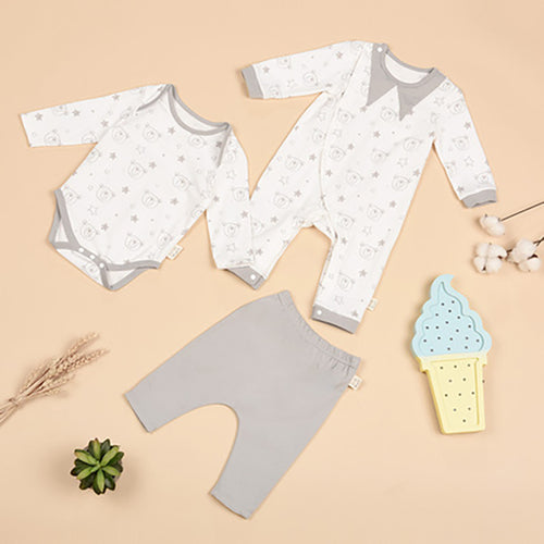 Newborn Baby 3-Pack Jumpsuit Onesie and Pants - Booth79
