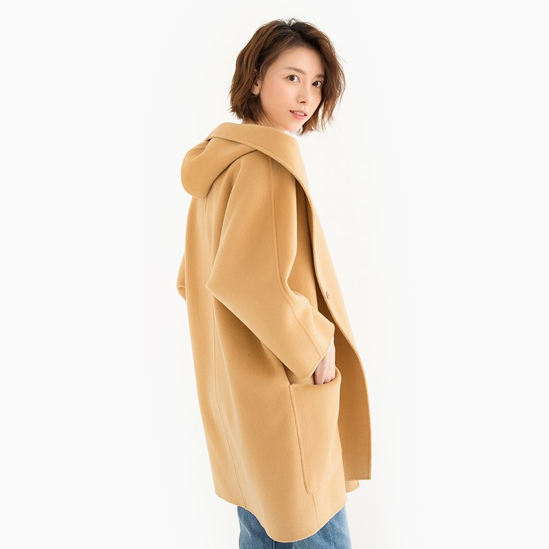 Women Hooded Woolen Coat Open Front Mid Length Overcoat