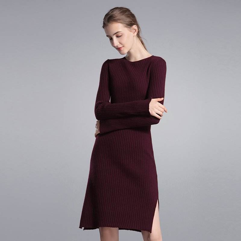 Women's Mid-long Round Collar Shapely Cashmere Dress
