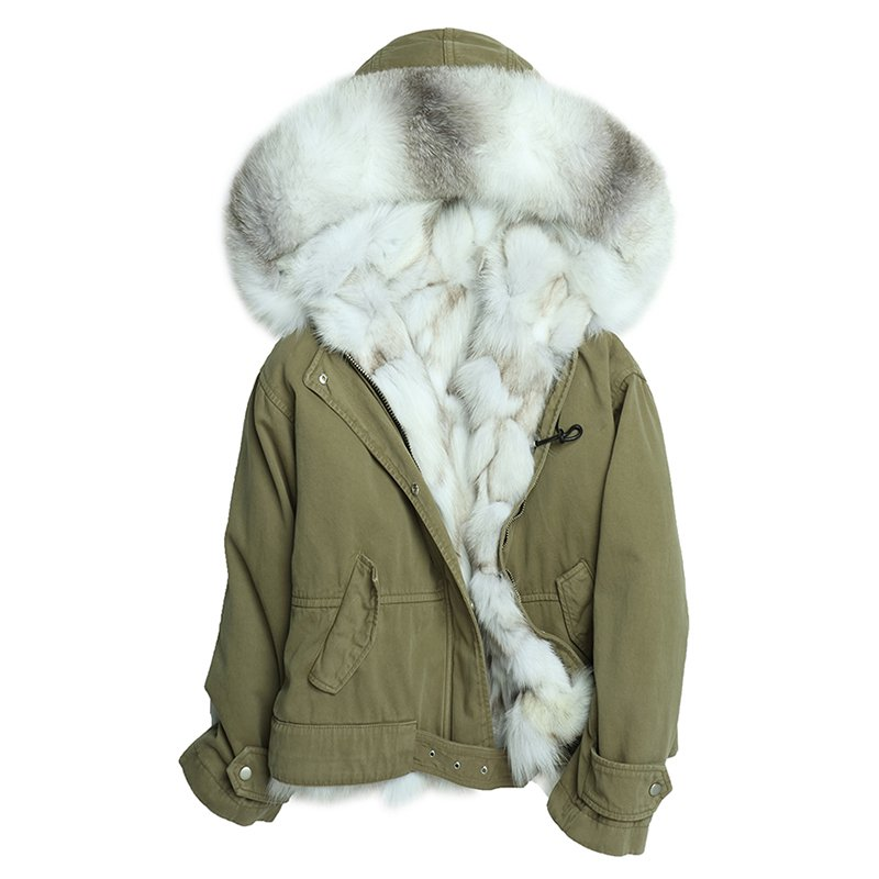 Hooded Faux Fur Lined Green Short Jacket - Booth79