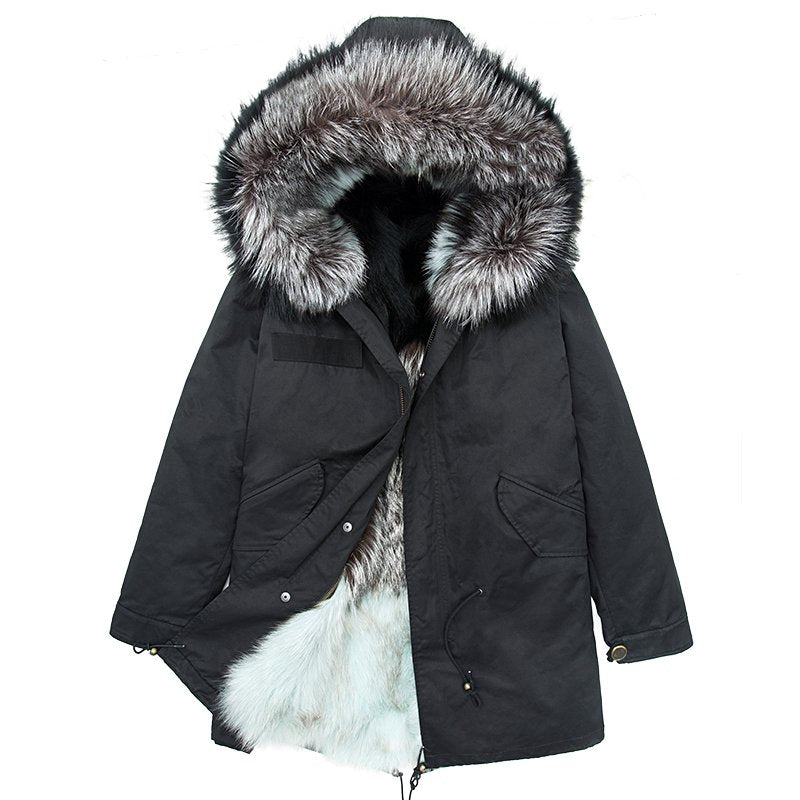 Fashion Faux Fur Lined  Warm Hooded Black Parka - Booth79
