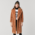 Women's Luxury Long Warm Fuzzy Cozy Wool Fur Teddy Bear Coat