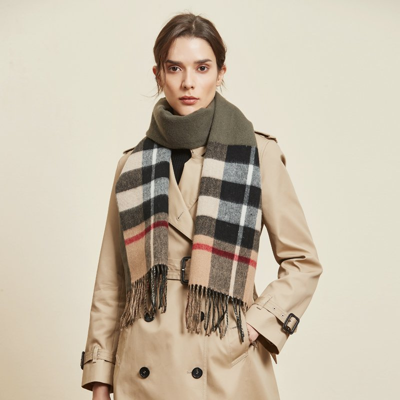 100% Woolen Double Layers Stripes Scarf