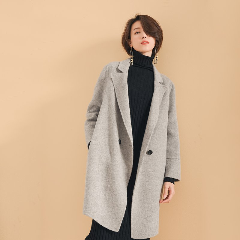 Women Woolen Coat Open Front Mid Length Wool Coat