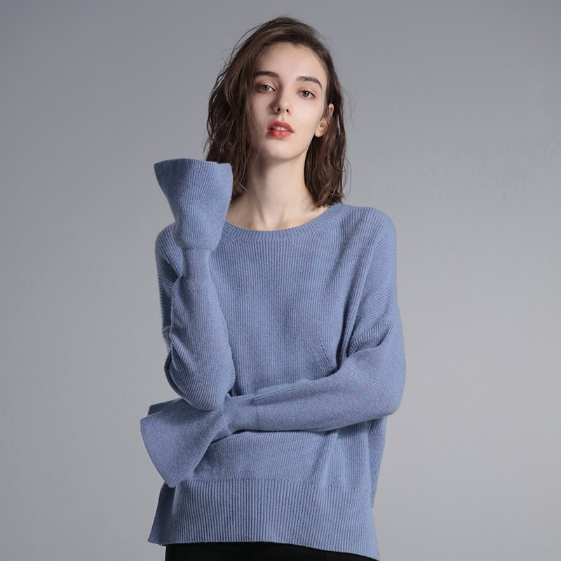 Long Sleeve Women's Pure Cashmere Crew Neck Sweater - Booth79