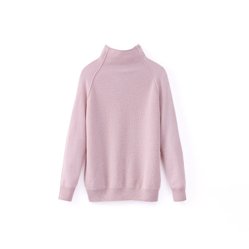 Women Long Sleeve high Collar Cashmere Sweater