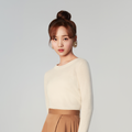 Women Back Bow Tie Crewneck Pullover Cashmere Sweater