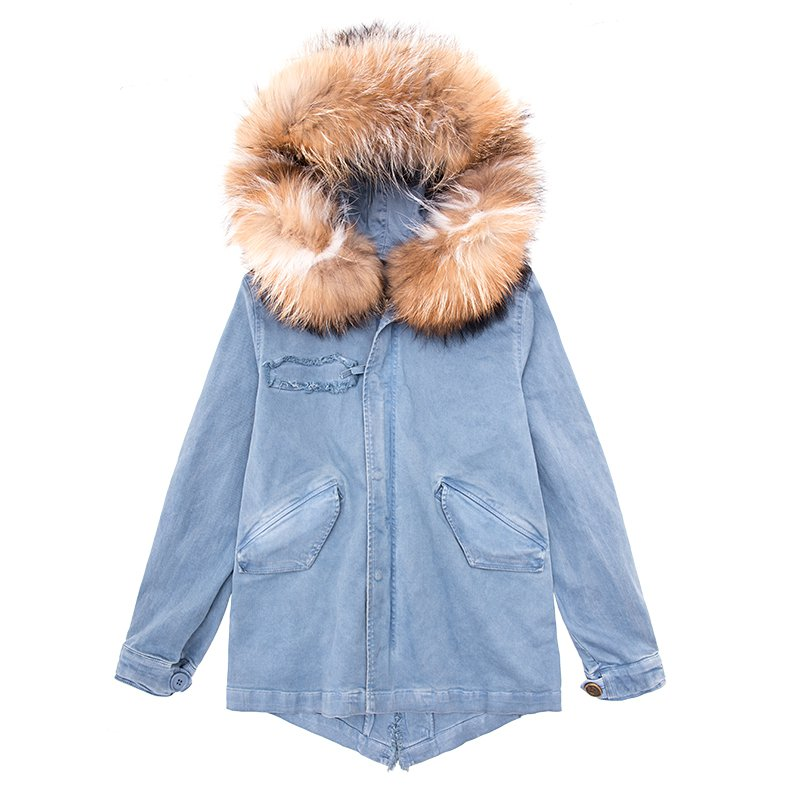 Hooded Racoon Dog Fur Lined Denim Jacket - Booth79