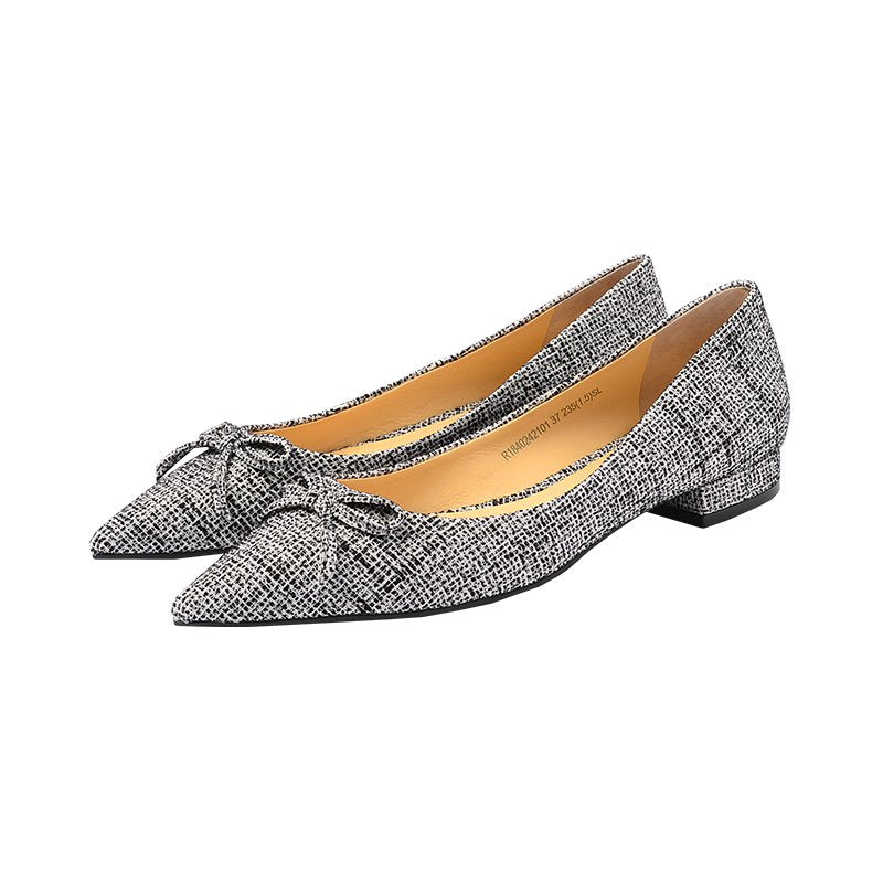 Women's Bowknot Shallow Mouth Low Heels Thin Shoes