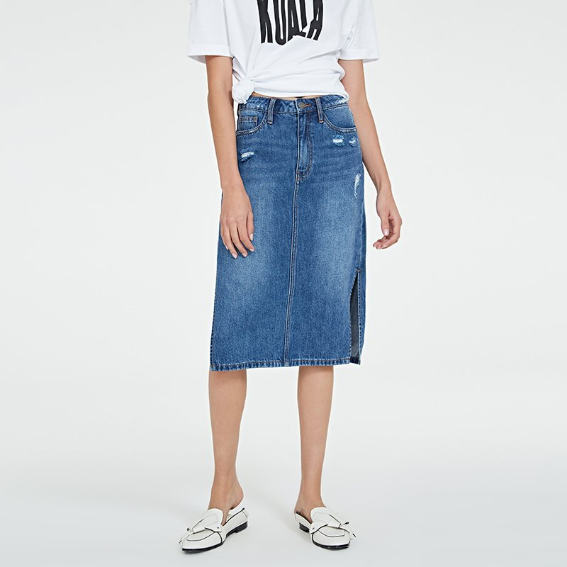 Women's Mid-Length Jean Skirt