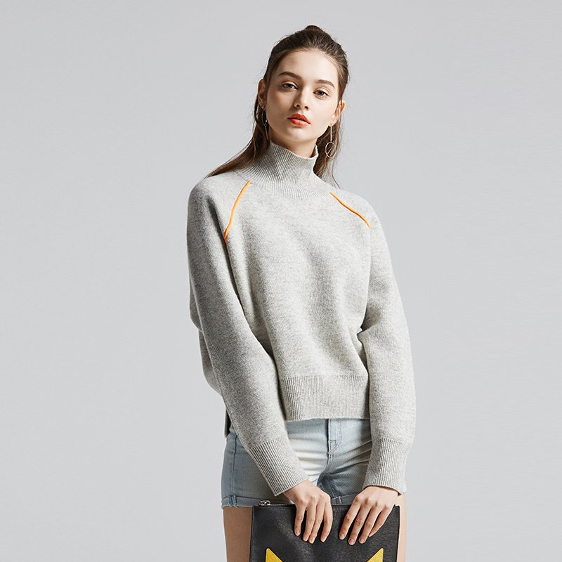 Women's High Collar Woolen Sweater