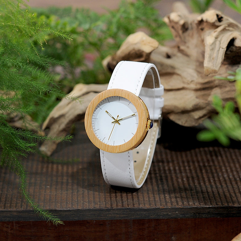 Wood Design Watch for Women With Leather Band