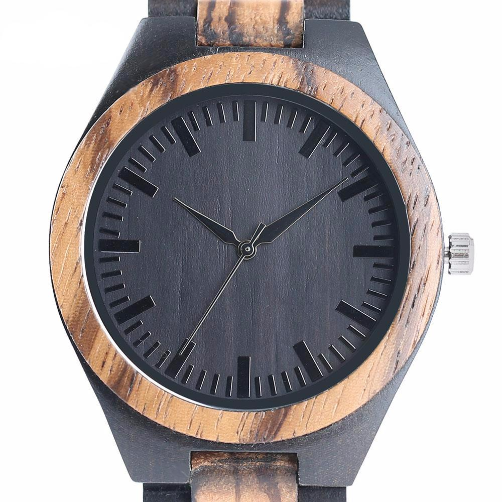 Black Dial Nature Full Wooden Watch