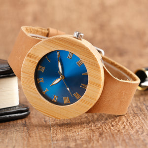 Creative Blue Women Wooden Watch