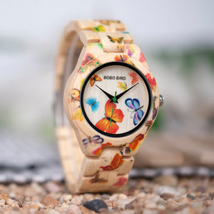 Woman Bamboo Watch With Butterfly Design