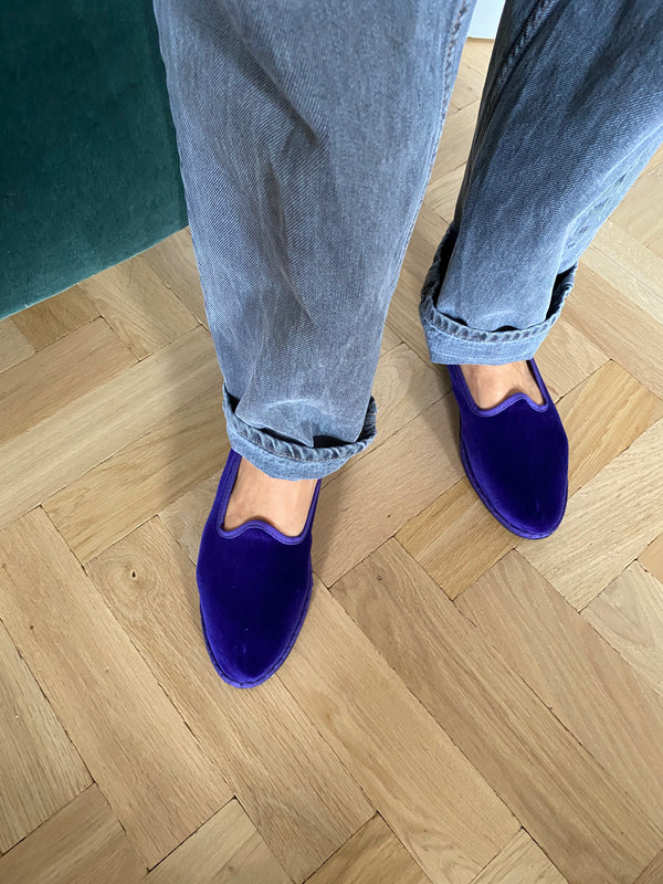 Drogheria Crivellini Velvet Slippers in Purple