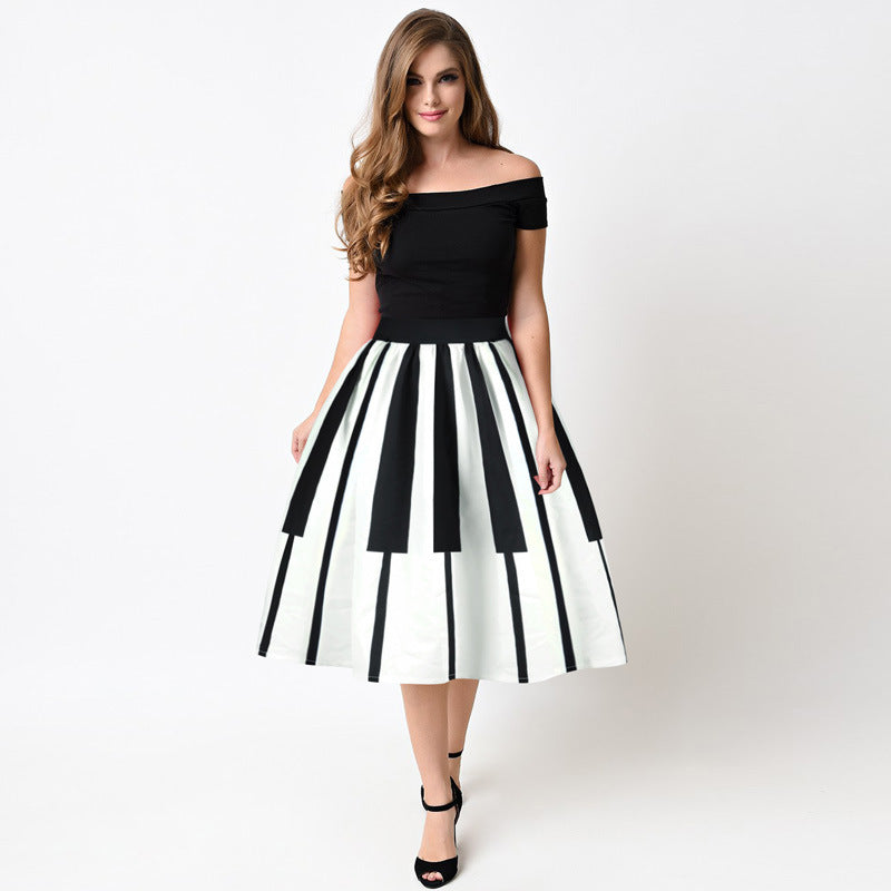 Echoine Women Pleated Skirts Fashion Piano Keyboard Print Ball Gown High Waist Knee Length Casual Women Skirt - luxuryandme.com