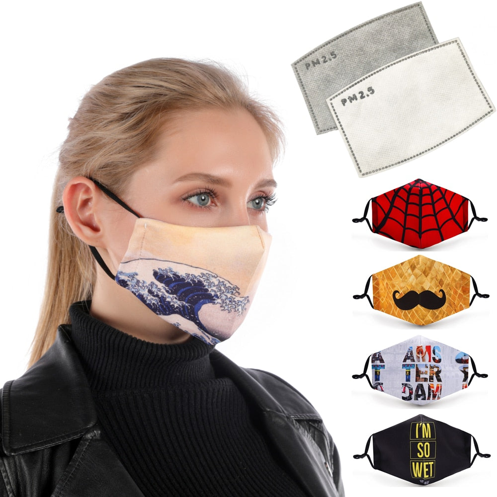 Printed mouth Mask Reusable Protective PM2.5 Filter Paper Mask anti dust Face mask