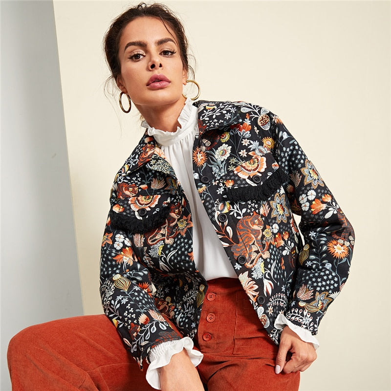 Multicolor Button Up Jacket