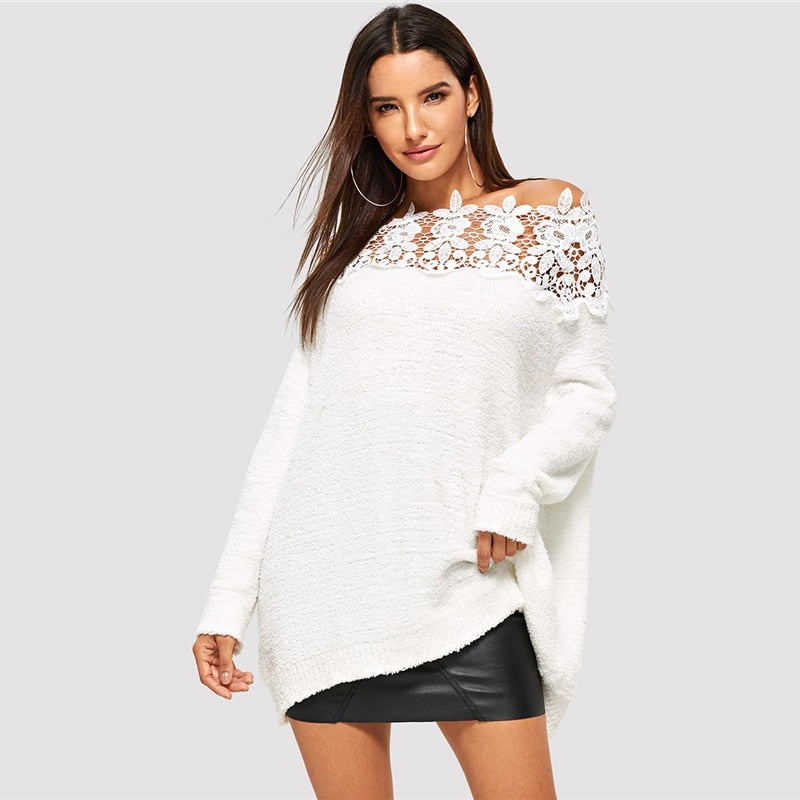 White Floral Lace Insert Sweater
