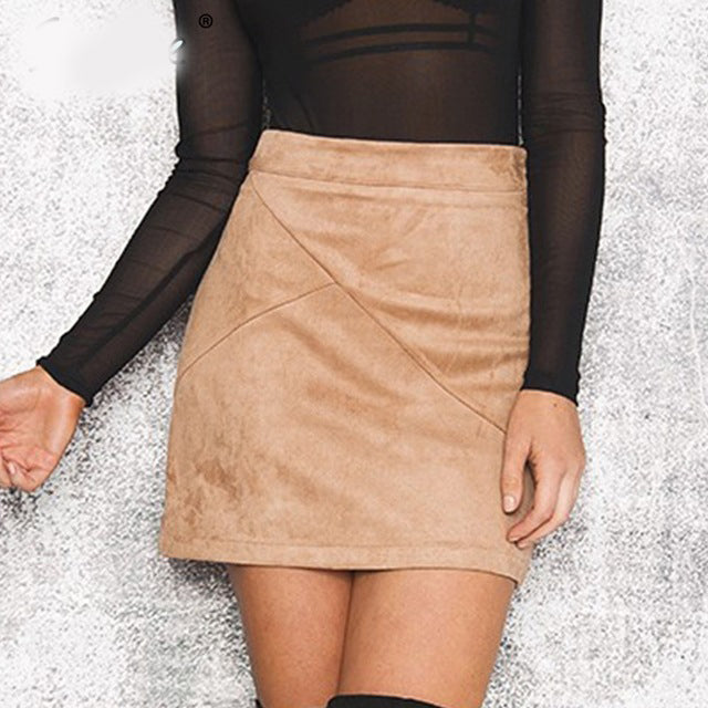 Vintage Leather Suede Pencil Skirt - luxuryandme.com